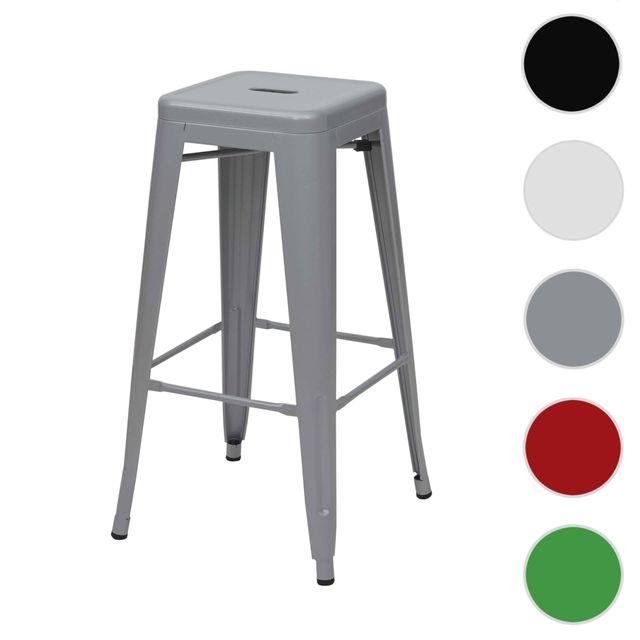 Mendler Tabouret de bar Hwc-a73, chaise de comptoir, métal, empilable, design industriel ~ gris