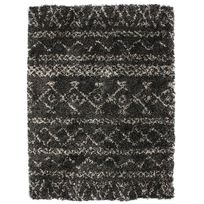 Mon Beau Tapis - Tapis shaggy ethnique tribal noir 133x190cm Luxus