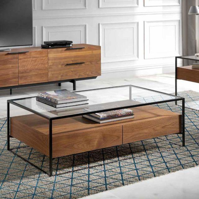 Nouvomeuble Table basse contemporaine verre et couleur noyer Artemis