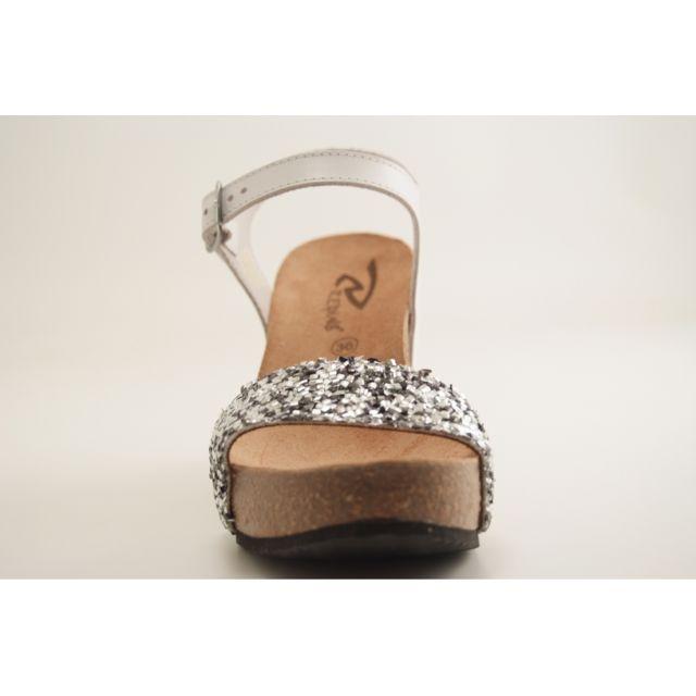 Reqins Eti queen Haut Conf sandale Charles Ix argent 40