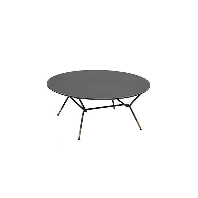 Table basse 85cm diam en acier noir et céramique anthracite