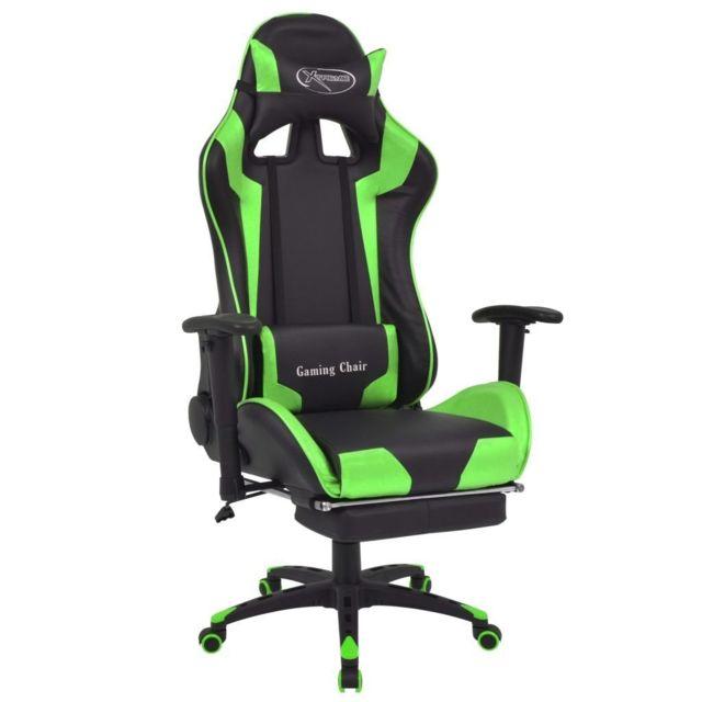 Fauteuil chaise chaise de bureau inclinable avec repose pied vert 0502042