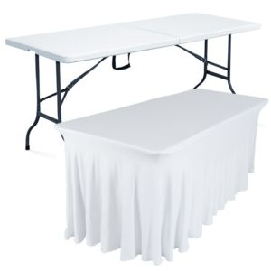 mobeventpro table pliante 180 cm et nappe blanche 180cm x 74cm x 75cm pas cher achat vente. Black Bedroom Furniture Sets. Home Design Ideas