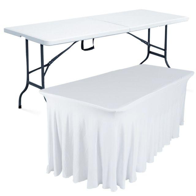Mobeventpro Table pliante 180 cm et nappe blanche