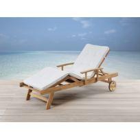 Beliani - Transat en bois - chaise longue inclinable avec coussin beige - Java
