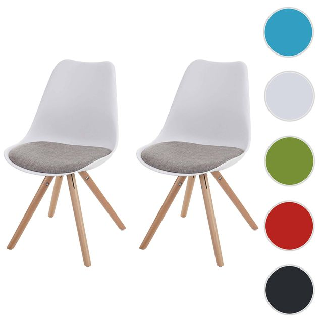 rétro ~ blanc pieds clairs 2x chaise Malmö T501 siège  tissu gris