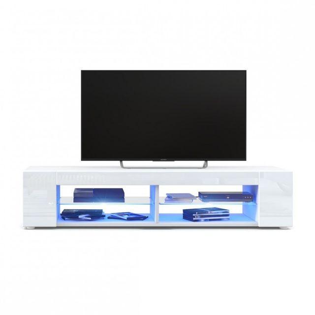 Mpc Meuble Tv blanc mat Façades en blanc laquées led Bleu