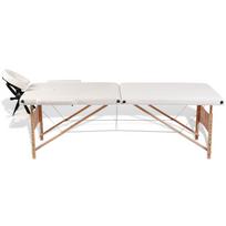 Superbe Table de Massage Pliante 2 Zones Crème Cadre en Bois Neuf