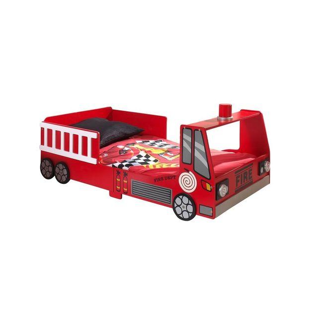 vipack funbeds lit junior pompier rouge 90cm x 200cm pas cher achat vente lit enfant. Black Bedroom Furniture Sets. Home Design Ideas