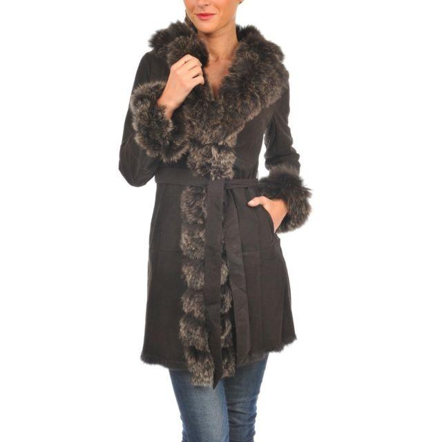 18b956f85f9fa Arturo - Manteau cuir peau lainée Couleur - marron, Taille Femme - 44