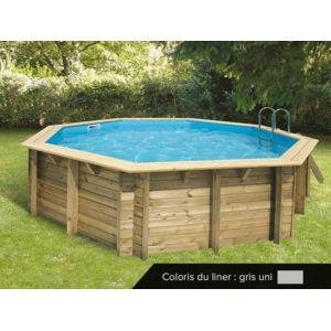 Ubbink piscine bois oc a 5 10 x 1 20 m liner gris for Piscine bois liner gris