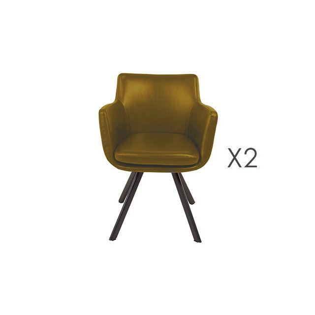 Lot de 2 fauteuils repas en Pu jaune - Margot