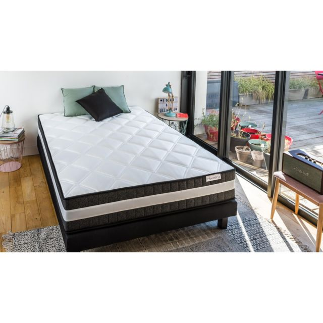 hbedding ensemble matelas ressorts ensach s sommier 160x200 spring luxe mousse haute. Black Bedroom Furniture Sets. Home Design Ideas