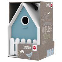 Emsa - Nichoir Landhaus pour Oiseaux - Blanc et Bleu Baltique