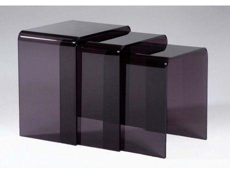 vente unique lot de 3 tables basses gigognes rudy acrylique gris pas cher achat vente. Black Bedroom Furniture Sets. Home Design Ideas