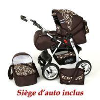 Kunert - Poussette / Landau combiné 3en1 multifonctions avec équipement bébé enfant 0-36m Roues en caoutchouc Volver | Marron - Notes