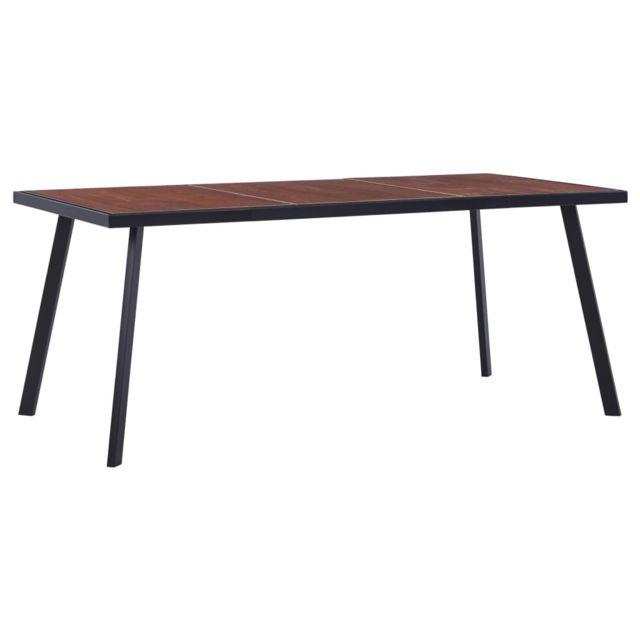 Uco Table de salle à manger Bois foncé et noir 180x90x75 cm Mdf