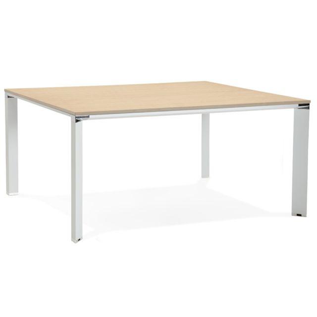 Pegane Bureau design / table de bureau en bois mélaminé naturel - 160 x 160 x 74.5 cm