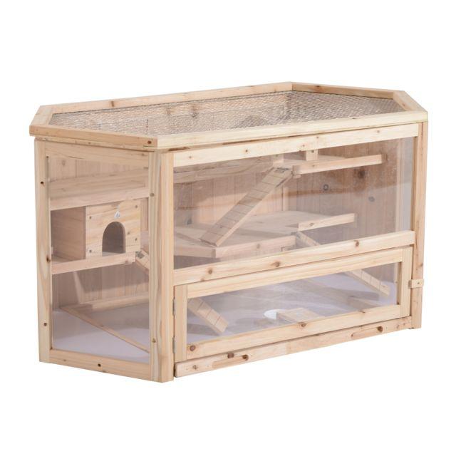 PAWHUT Cage XXL pour hamsters souris petits rongeurs multi-équipements bascule rampes cottages tiroir excrément bois de pin ple