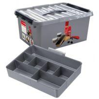Sunware - Grande boite de rangement multifonctions - Boite à chaussures spécial cirage et entretien - 15 Litres