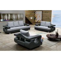 Relax design - Canapé Lara sawana gris/noir fauteuil sofa divan