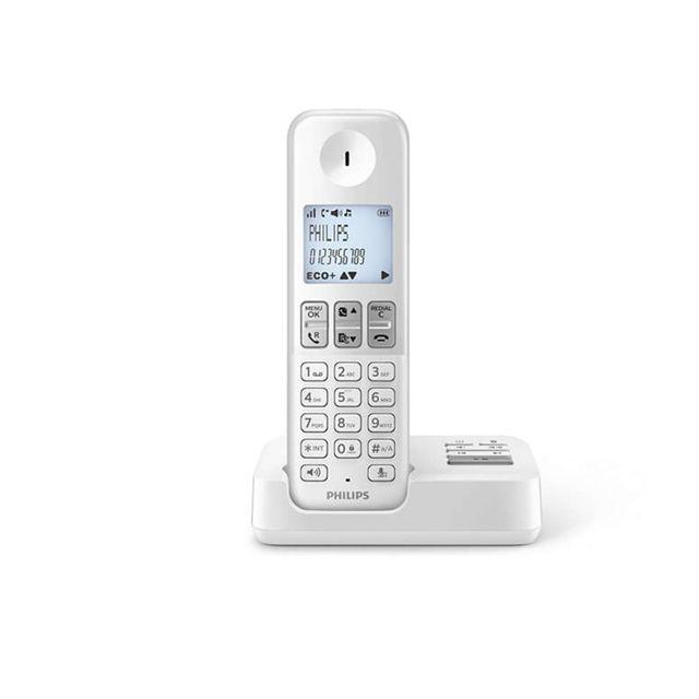 PHILIPS - Téléphone fixe sans fil avec répondeur - D2351W/FR - Solo Blanc