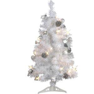 d co maison petit sapin arbre de no l lumineux d cor chic glamour blanc gris 60 cm pas. Black Bedroom Furniture Sets. Home Design Ideas