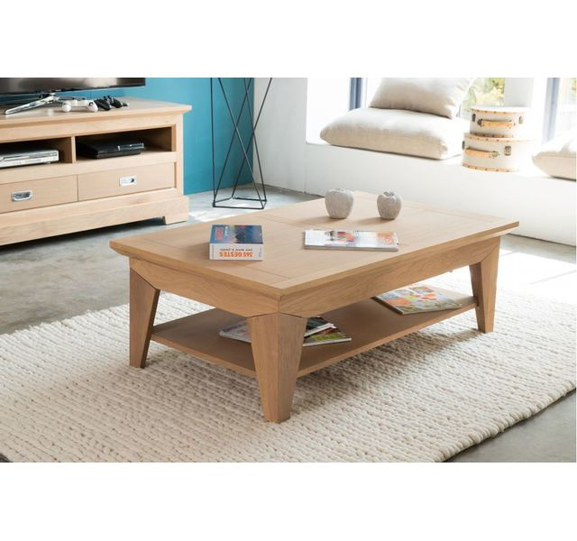 HELLIN Table basse moderne FABRIC en chene - coloris Amande