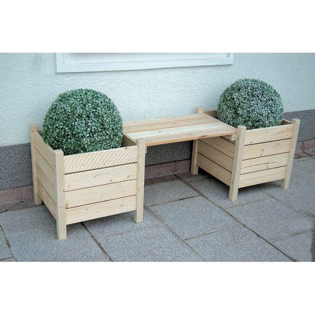 marque generique gaspo banc avec jardini res bodensee l 160 x p50 x h 45 cm naturel pas. Black Bedroom Furniture Sets. Home Design Ideas