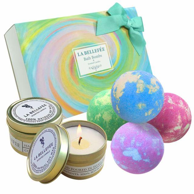 Bombes de Bain Effervescentes Coffret Boules de Bain aux Huiles Essentielles & Bougies Parfumées Idées de Cadeau pour Am