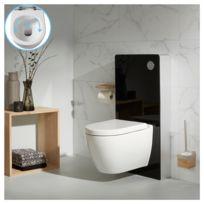 Planetebain - Pack wc suspendu avec bati support en verre noir et cuvette  sans bride en b1d7e07540d3