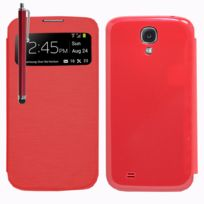 Vcomp - Coque Etui Housse Pochette Plastique View Case pour Samsung Galaxy S4 i9500/ i9505/ Value Edition I9515 + stylet - Rouge