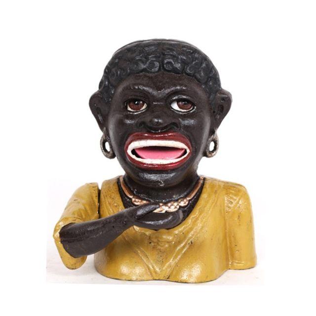 Tirelire a système femme noire en fonte - 13 cm