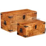Rocambolesk - Superbe Jeu de 2 coffres de stockage en bois brut de manguier Neuf