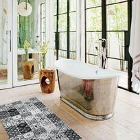 Mon Beau Tapis - Tapis motifs carreaux de ciment noir 120x50cm Toodoo