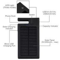Alpexe - Chargeur Solaire Portable de 10000mAh Double Port Usb avec Lampe de Poche Led Batterie Externe Étanche Antichoc support téléphone pour les téléphones portable, les tablette et les autres chargement à Usb