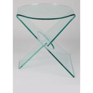Inside 75 celia bout de canap en verre transparent 50cm for Verre 51 piscine design tabac
