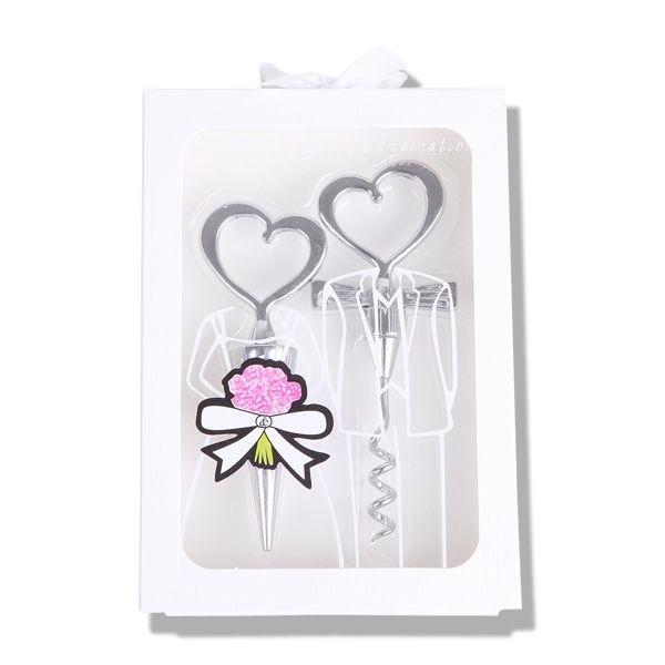 Totalcadeau - Tire-bouchons coeur et bouchon bouteille coeur blanc