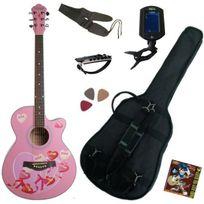 Keytone - Pack Guitare Acoustique Folk Rose, Accordeur électronique 6 Accessoires
