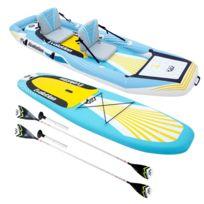 Stand Up Paddle/Kayak gonflable 2-en-1 EVOLUTION avec 2 pagaies, sac de rangement et pompe haute pression