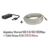 Cabling - adaptateur Usb mâle vers connecteur Rj45 v3 Gigabit + Cable ethernet Rj45 Cat6 10 mètres