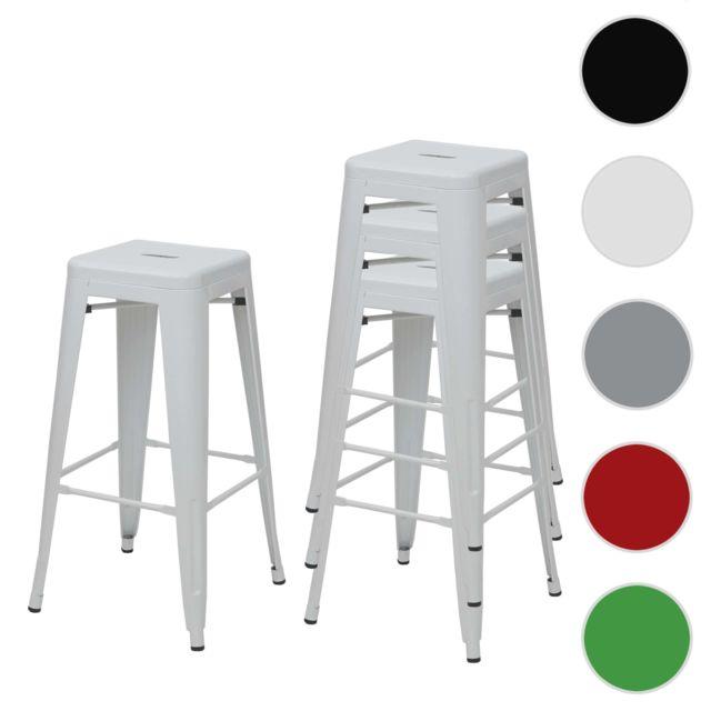 Mendler 4x tabouret de bar Hwc-a73, chaise de comptoir, métal, empilable, design industriel ~ blanc