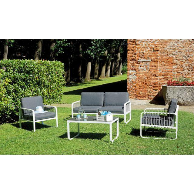 Ensemble de jardin coloris blanc et gris en aluminium / imitation bois