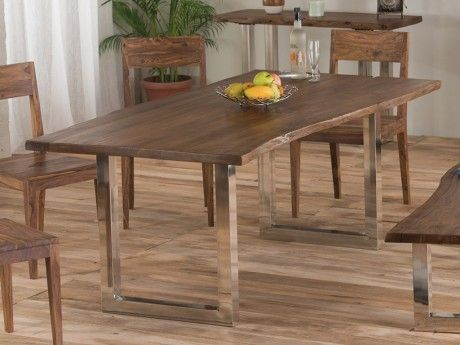 Marque generique table manger tusty 8 couverts acacia m tal naturel 95cm x 76cm x for Carrefour table a manger