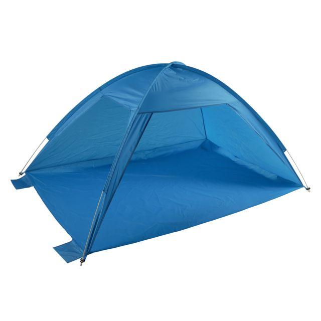 CARREFOUR Polyester - Bleu - Protection UV 50 Dimensions : L 220 x l 150 x H 110 cm - Matière : Polyester - Couleur : Bleu - Capacité : 2 personnes - Protection UV 50+.
