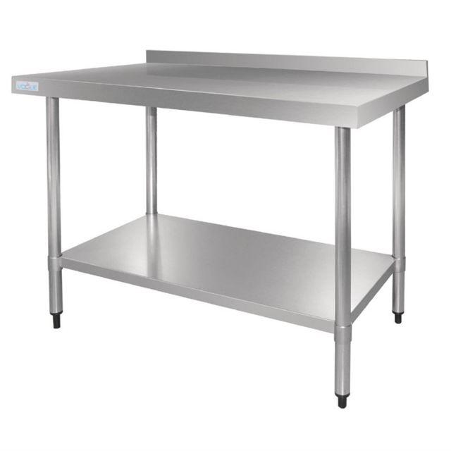 Vogue Table Inox Professionnelle avec Dosseret - Gamme 700 inox 900x700 700
