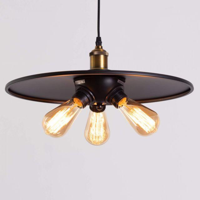kosilum - suspension industrielle noire 3 ampoules - hestia - en