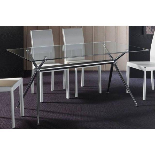 Inside 75 Table repas Atene 180x90 en verre piétement acier chromé