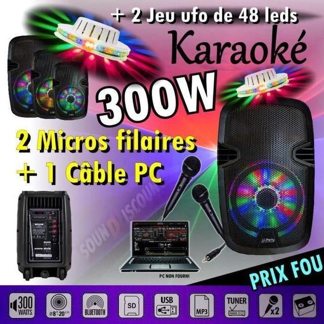 Ibiza Sound Sono enceinte 300w portable karaoké usb bluetooth 300w pour vos soirees dj - 2 ufo 48 led - pa dj sono jeux lumiere
