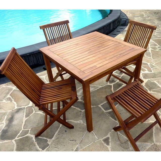 Wood En Stock - Ensemble table en teck carré 90 cm avec 4 chaises de ...